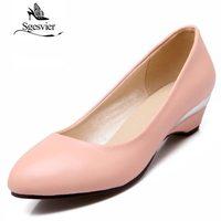 SGESVIER Women Pumps Wedge Shoes 2017 Autumn New Elegant Classics Dress Plus Size 32 48 Round Toe Low Heels Lady Shoes OX092