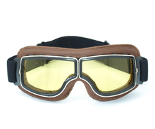 Очки из натуральной кожи авиатор пилот крейсер велоспорт мотоцикл очки очки карие желтые линзы