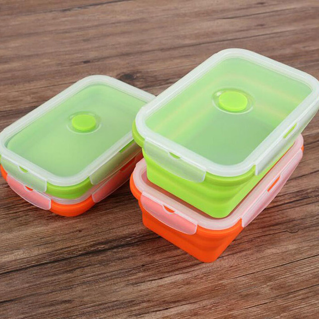 20pcslot 750ml Silicone Bento Boxs Collapsible Lunch Boxs Folding