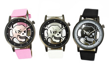 Skull Evil Devil Transparent Case Men's Women's Halloween Gift Analog Wrist Watch