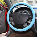 New Universal White Little Dots 38cm Blue Top PU Leather Steering Wheel Cover