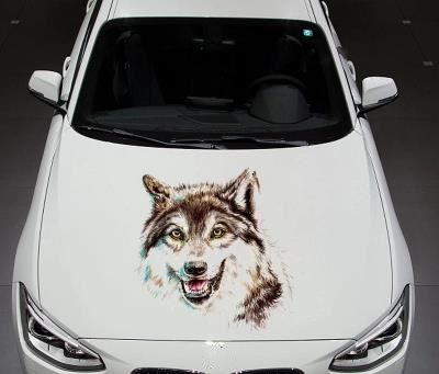 цена на Car wolf head 3d stereo sticker personality body cover wolf totem modified stickers creative scratches obscured car sticker -288