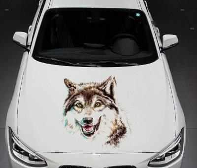 Voiture loup tête 3d stéréo autocollant personnalité corps couverture loup totem modifié autocollants créatifs rayures occulté voiture autocollant-288