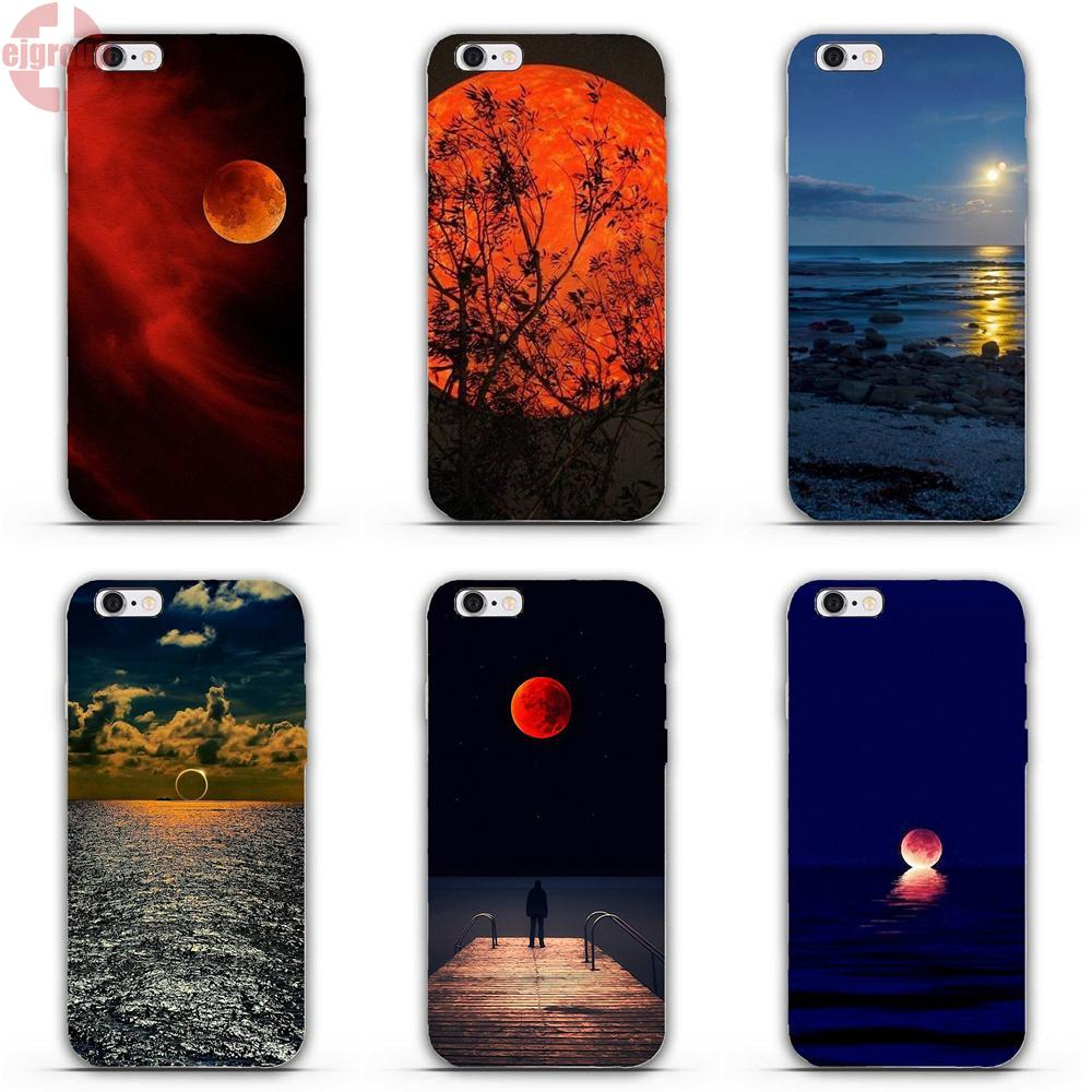 EJGROUP Soft TPU Silicon Fashion Phone Case Cover Lunar Eclipse For iPhone 4 4S 5 5C SE 6 6S 7 8 Plus X