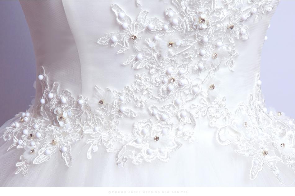 Angel Wedding Dress Marriage Bride Bridal Gown Vestido De Noiva 2017 Boat Neck Nail, lace, 2129 17