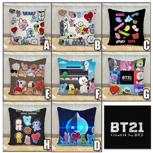 Kpop BTS BT21 Bangtan Boys ARMY VAN SHOOKY MANG CHIMMY TATA COOKY KOYA Waist Cushion Pillow Case Decoration(China)
