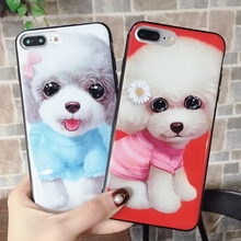 Cyato Cartoon Poodle Dog IMD Phone Case Coque for iPhone 8 Plus Lovely Pet X 6 6S 7 Funda Women Carasa