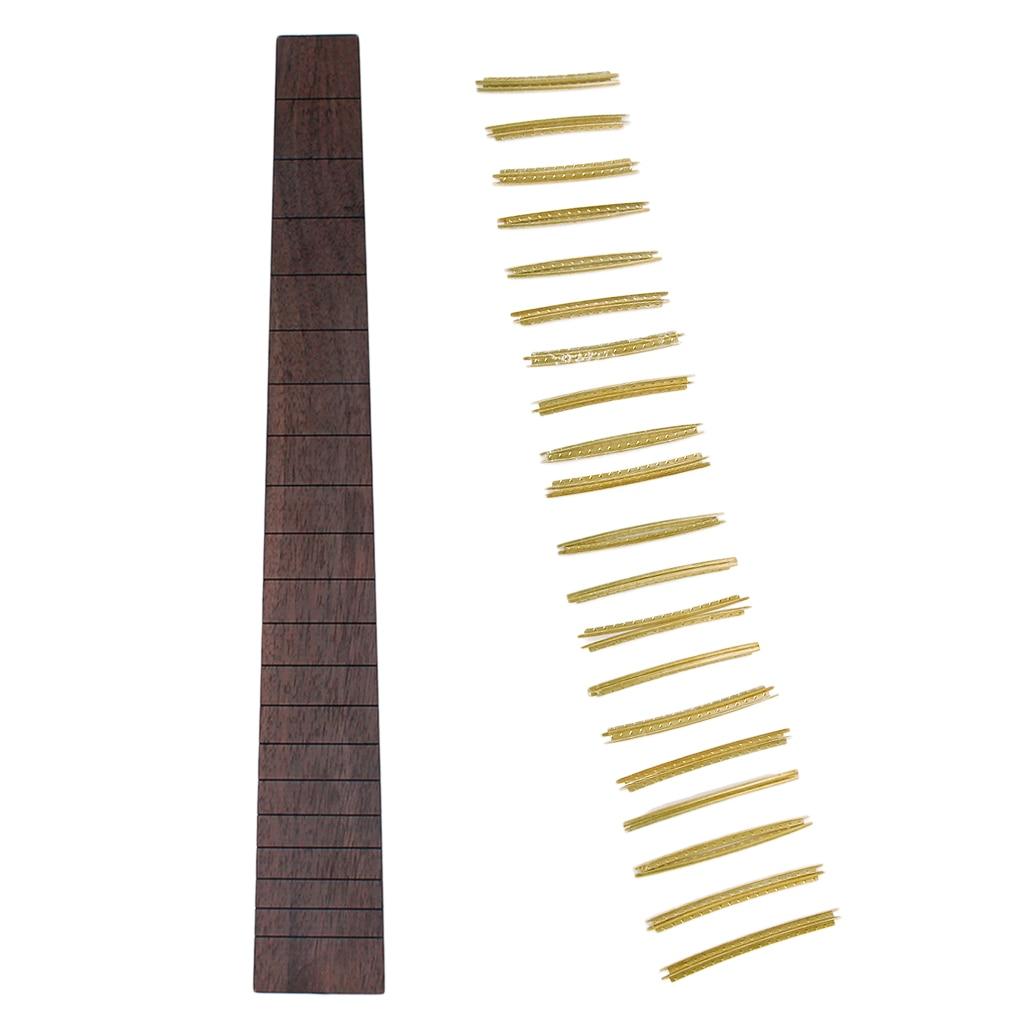 Rosewood Guitar Fretboard Fingerboard & 20pcs Fretwire Set for DIY  Acoustic Parts