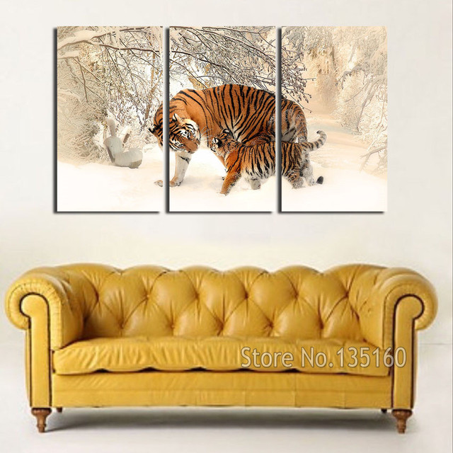 3 Piece Canvas Art Wall Painting Snow Forset Baby Tiger And MOM ...