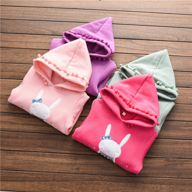 New Design Autumn & Winter Baby Girl Sweater Kids Cartoon Embroidery Rabbit Hooded Long Sleeve Pullover Casual Cotton Clothes