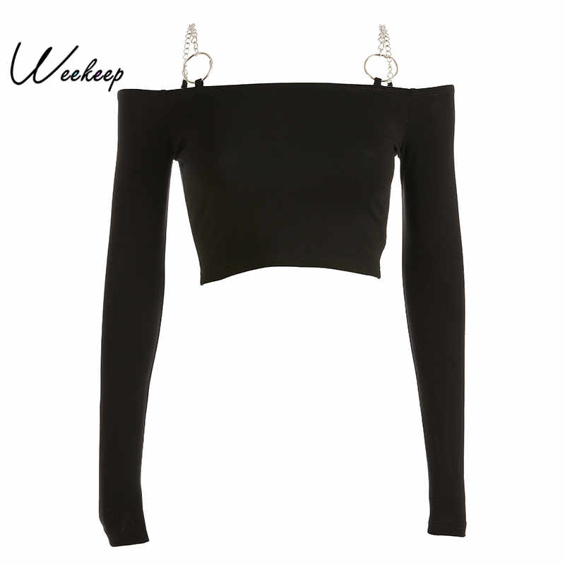 Weekeep Women Black Long Sleeve Tshirt Knitted Slash Neck Cropped Tshirt Iron Chain Bodycon Streetwear Tee Shirt Femme Crop Top