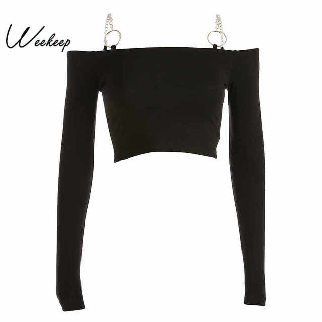 Weekeep Women Black Long Sleeve tshirt Knitted Slash Neck Cropped tshirt  Iron Chain Bodycon Streetwear tee shirt femme Crop Top 3d7846ad4