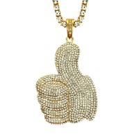 Hip Hop Men Women Gold Color Plated With Full Rhinestone Big Thumb Pendants Necklaces Bling Crystal Chains Vogue Jewelry