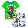 YS-11, mario, summer children boys clothing set, short sleeve T shirt  sets for 2-7 year, 100% cotton