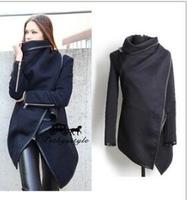 Slim fit irregular temperament woolen coat windbreaker jacket