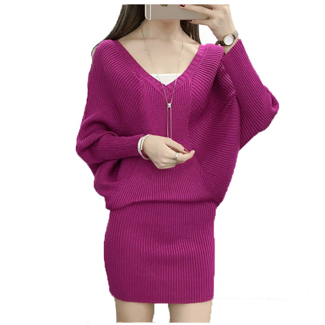 Autumn Women sweater dress 2016 Loose Batwing Sleeve sexy slim Bodycon Long Dress Tunics Robe Pull femme Black Purple Pink White