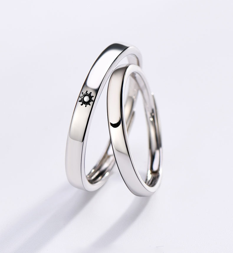 Couple Ring Jewelry Adjustable Silver-Color Girls Moon Sun Best-Friend Boys Simple-Style