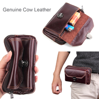 Genuine Cow Leather Belt Clip Phone Case Dual Pouch For Xiaomi Redmi Note 5 Pro,For Huawei Nova 2s,Honor View 10,For Galaxy S9+
