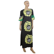 MD african flower dress for women maxi dresses with scarf traditional print long south clothes party wear