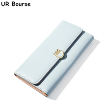 цена на UR BOURSE Women's Multi-Card Long Wallet Ladies Pu Leather Clutch Buckle Card Holder Female Coin Purse  Large Capacity Wallet