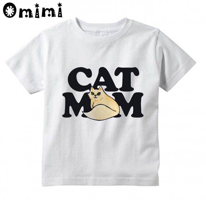 Обувь для мальчиков/Обувь для девочек кошка мама футболка с принтом детские топы с короткими рукавами детские смешные белая футболка