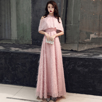 0ea69cec9cb849 2019 New Lace Evening Dresses Pink Contrast Color Long Elegant Vestidos  Longos Formal Sleeveless Prom Gowns. 2019 Nuovo Pizzo Abiti Da Sera ...