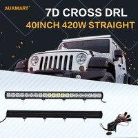 Auxmart 7D 40inch 420W LED Light Bar Spot Flood Combo Beam DRL Offroad Bar Light For