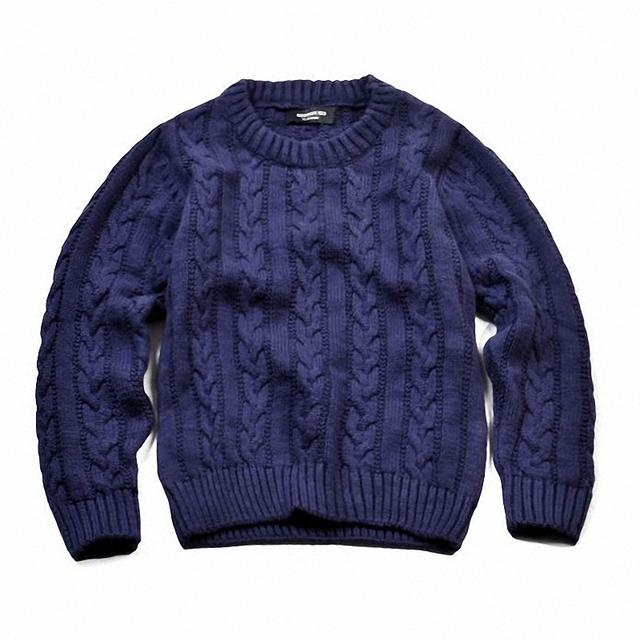 Niños niños niñas cable-knit del algodón suéter de punto suéter de los cabritos casual fashion solid otoño invierno suéter de cuello redondo ropa