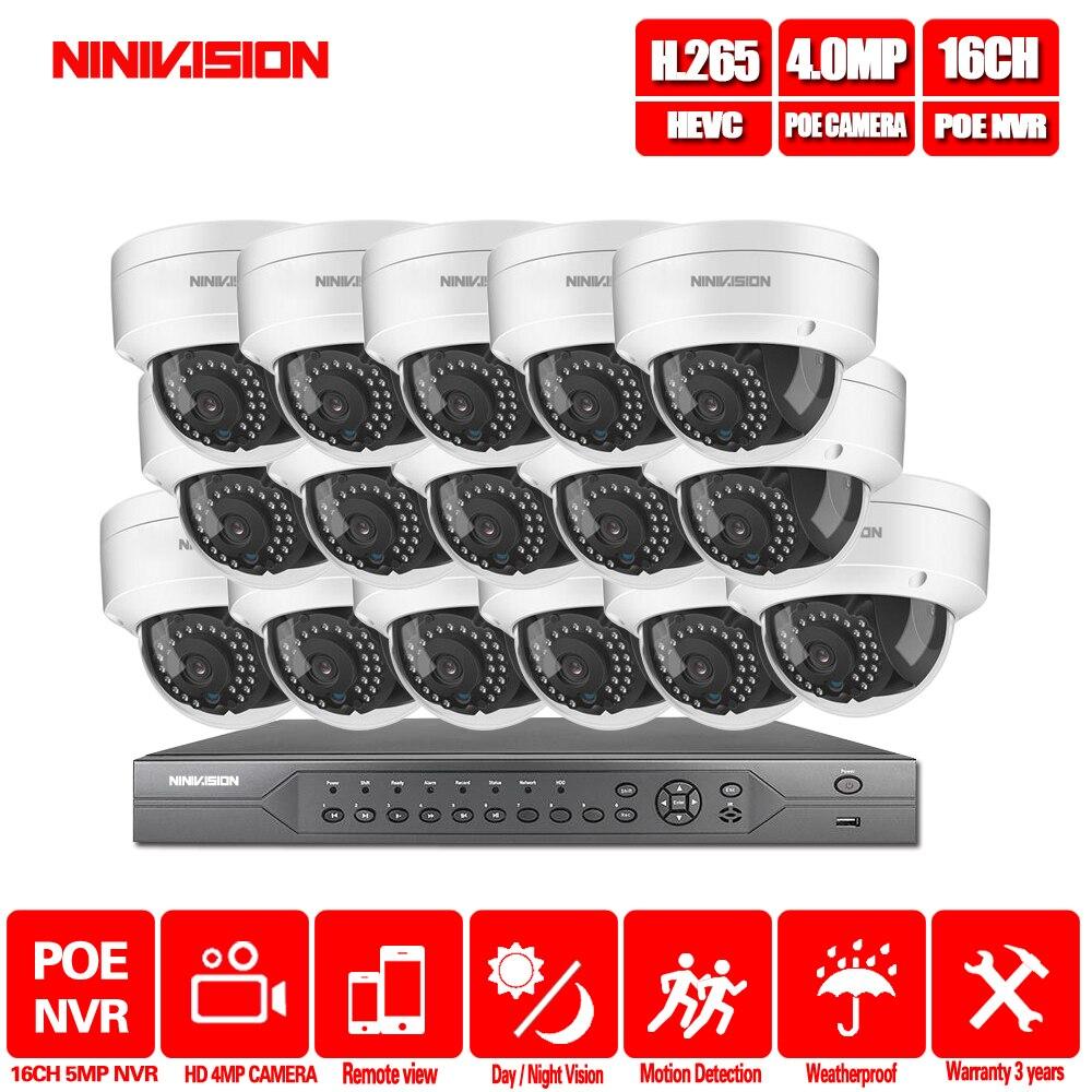 16CH 4 K POE NVR 5MP 4MP 3MP 2MP kit de cámara IP PoE P2P nube Onvif FTP sistema CCTV IR kit de videovigilancia de visión nocturna al aire libre