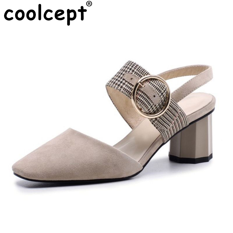 Coolcept Vintage Women Genuine Leather High Heel Sandals Metal Buckle Square Toe Thick Heel Sandals Summer Shoes Size 33-40Coolcept Vintage Women Genuine Leather High Heel Sandals Metal Buckle Square Toe Thick Heel Sandals Summer Shoes Size 33-40