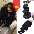 Brazilian Virgin Hair 3 Bundles With Closure Brazilian Body Wave With Closure Mink Brazilian Hair Weave Bundles With Closure