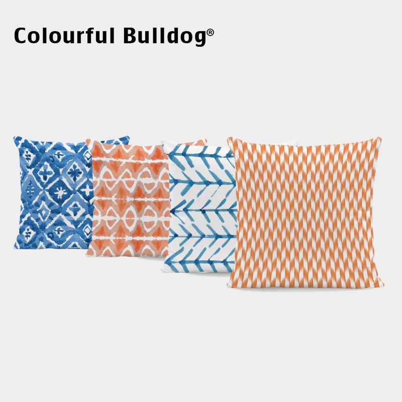 blue orange geometry cushions white pillow covers beauty chair for teens checkered throw pillow cases 45x45cm decor office couch