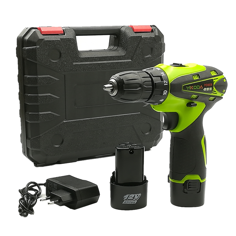 YIKODA 12V Lithium Battery*2 Cordless Driver Drill Rechargeable Multi-function Electric Screwdriver Handheld Power Tools 12v 1300rpm electric screwdriver li battery rechargeable multi function 2 speed cordless electric drill power tools box