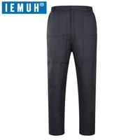 IEMUH Brand Winter Men 90 Duck Down Pants High Waist Male Straight Warm Thick Hiking Climbing