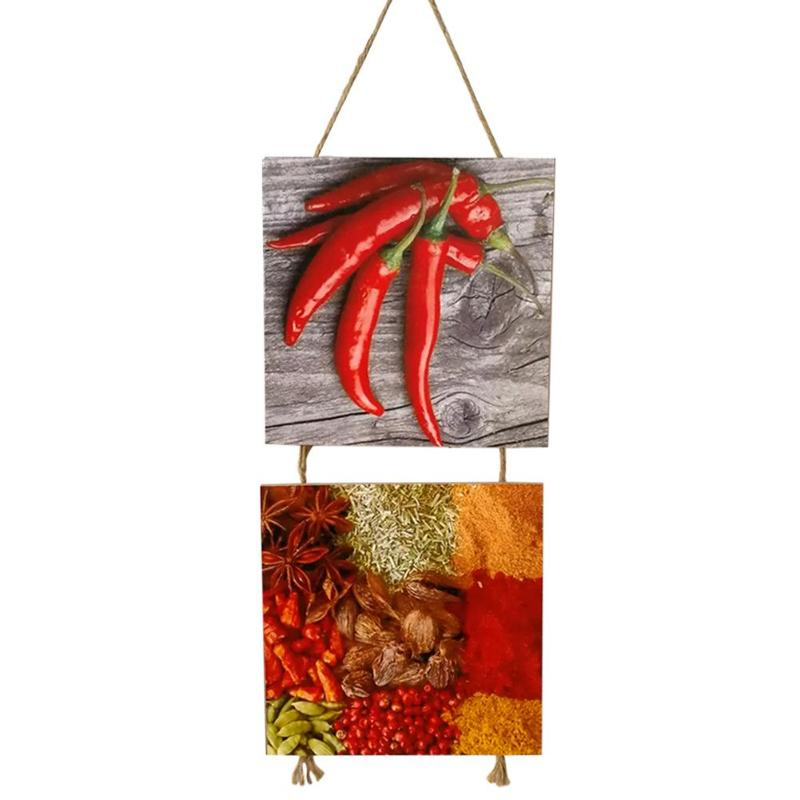 Creative Hanging Plaque Kitchen Hanger Wooden Chili Powder