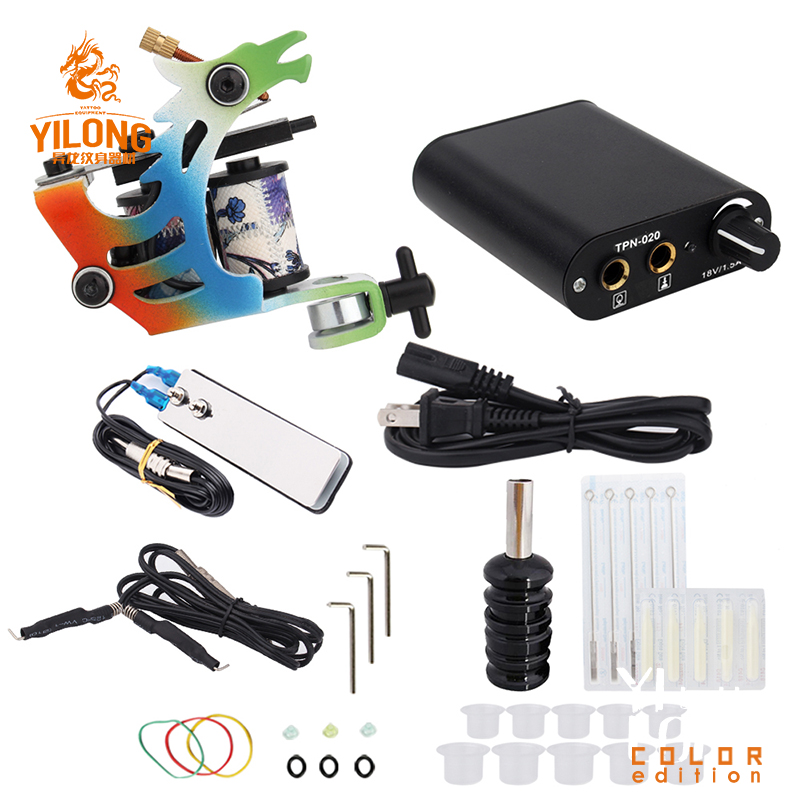 Complete Tattoo Machine Kit Set 1 Colorful Coils Guns Pigment Sets Power Tattoo Beginner Grips Kits Permanent Makeup(China)