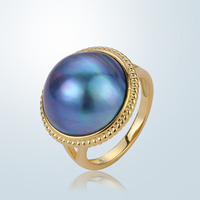 15 16mm Natural Freshwater Pearl Rings S925 Pure Silver Big Round Pearl Rings Fashion European Blue Aurora Pearl Rings For Women