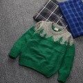 Девочка зимой свитер красный зеленый синий 2-7 лет мода Рождество дети девушки свитер компьютер вязаный свитер для девушка