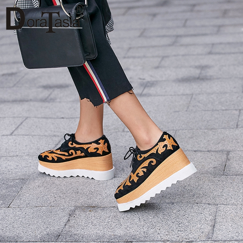 DoraTasia 2019 New Brand Design Girl Thick Platform Sneakers Genuine   Leather     Suede   Large Size 33-43 High Heels Shoes Woman
