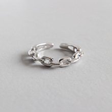 HFYK 925 Sterling Silver Ring 2019 Chain Rings For Women Geometric Adjustable Jewelry Bague Femme Anillos anel