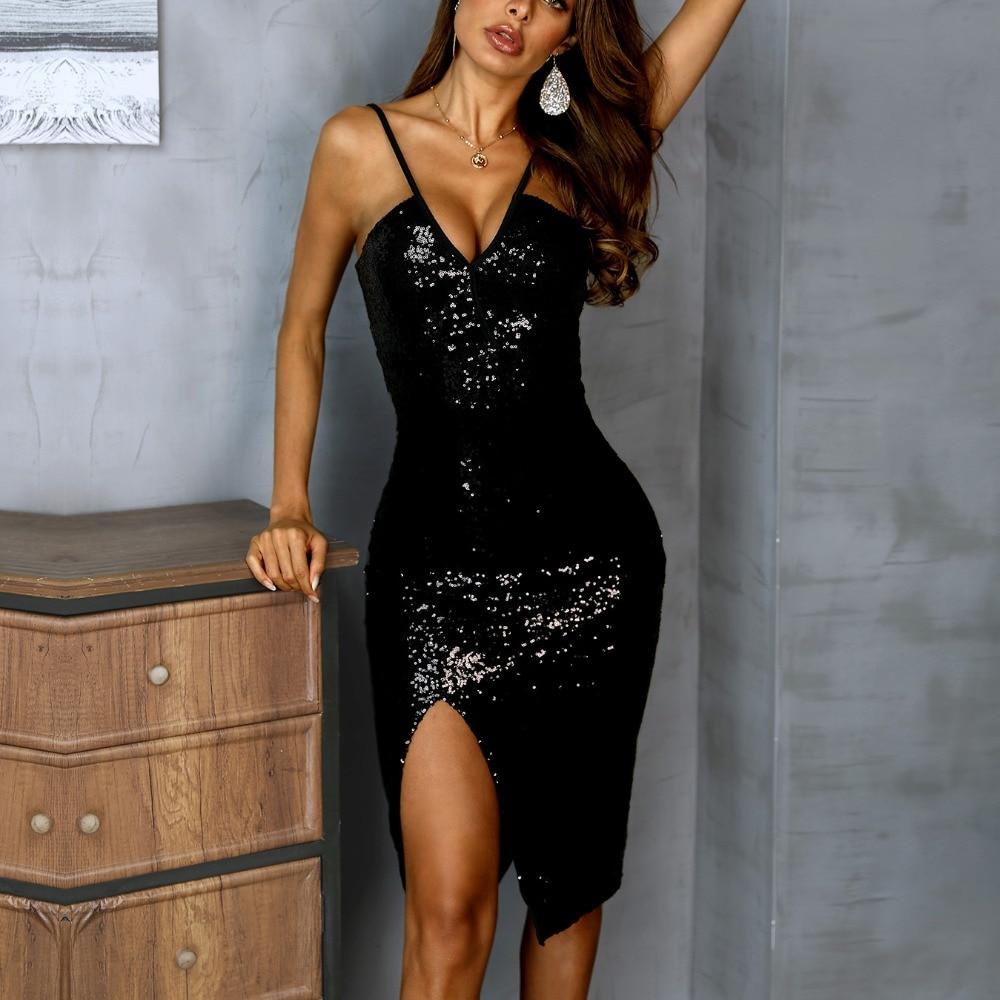 2019 Women Elegant Fashion Sexy Spaghetti Strap Cocktail Sparkly Bodycon Dresses Deep V Thigh High Slit Sequin Party Dress