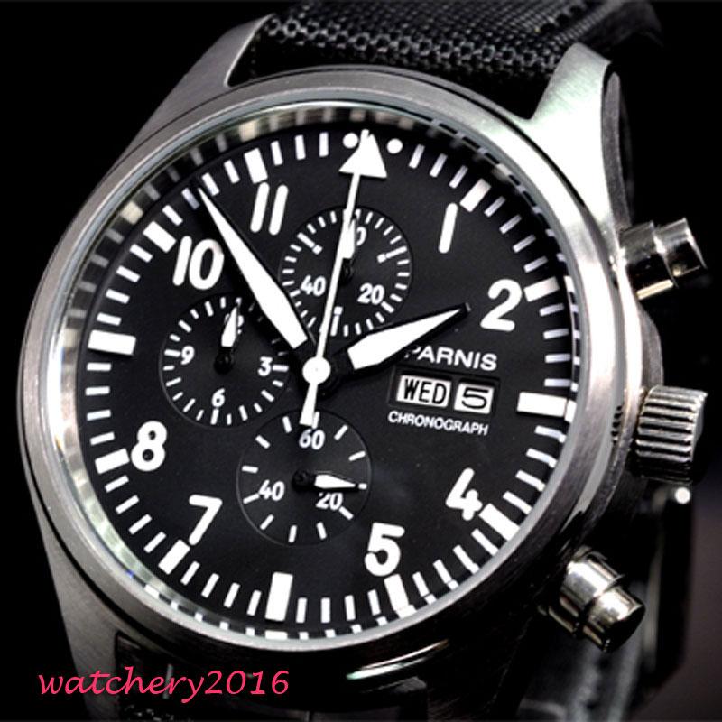 42 мм parnis черный циферблат хронограф 2019 Роскошные Брендовые Часы мужские военные часы с кварцевым механизмом механические мужские часы