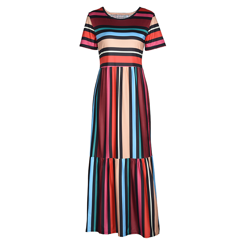 BEFORW 19 Harajuku Casual Dress Women Clothes Fashion Rainbow Stripe Long Dress Vestidos Female Summer Beach Maxi Dresses 1
