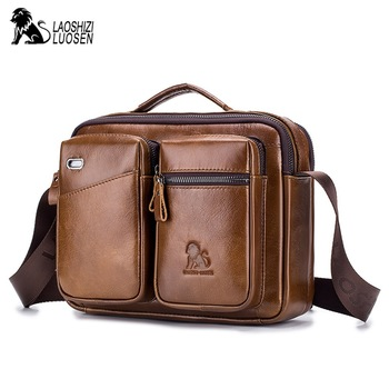LAOSHIZI LUOSEN genuine leather Vintage Messenger Bags men's Solid Business shoulder Crossbody bag cowhide male travel handbags