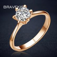 BRAVEKISS винтажная роза, золото, цветное обещание на помолвку кольца для женщин круглый Фионит пасьянс кольца, обручальные кольца драгоценность BJR0012A