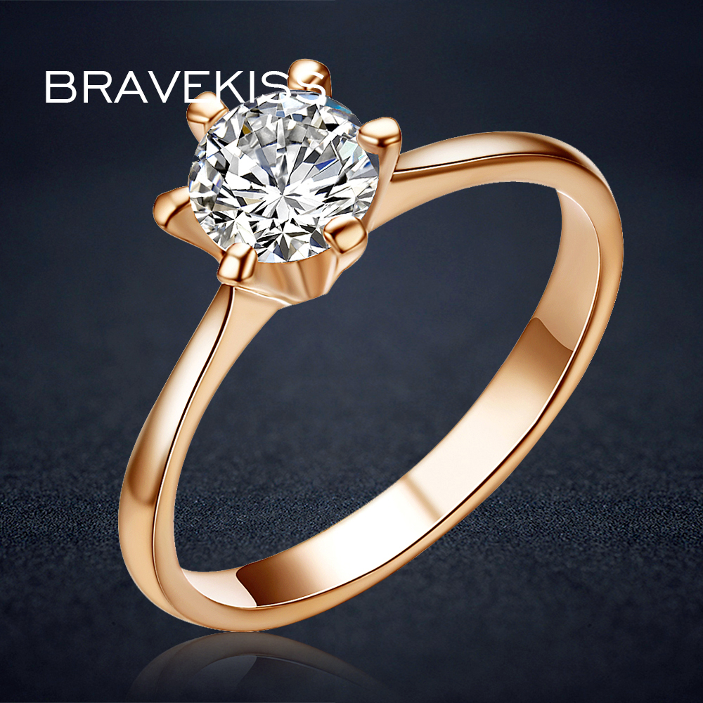 BRAVEKISS Vintage Rose Gold Color Promise Engagement Rings for Women Round CZ Stone Solitaire Ring Wedding Bands Jewel BJR0012A pre-engagement ring