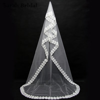 2016 1T Chapel Long 3M Wedding Veil White Ivory Lace Purfles Bridal Veil Wedding Accessorie Velos