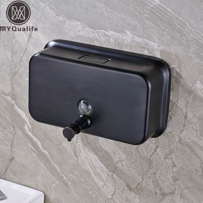 Free Shipping Brass Black liquid Soap Dispenser Bathroom Kitchen Stainless Steel Touch Soap Dispenser Wall Mounted 1000ML cheaper stainless steel liquid soap dispenser kitchen sink soap box free shipping chrome finished
