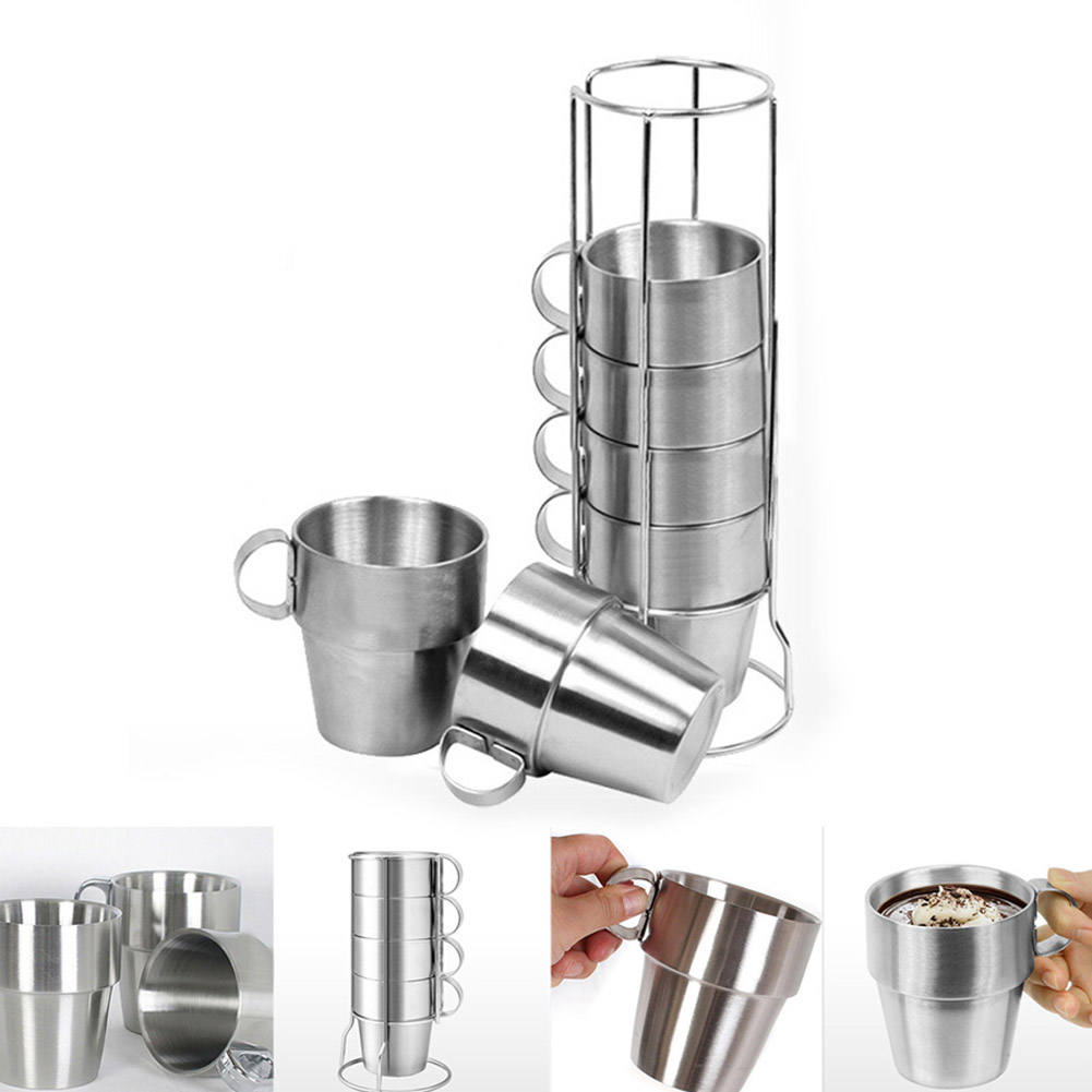 Newly 6 Pcs/<font><b>Set</b></font> Stainless Steel Insulated <font><b>Cups</b></font> <font><b>Coffee</b></font> Mugs Double Layer Heat Insulation Kit MK image