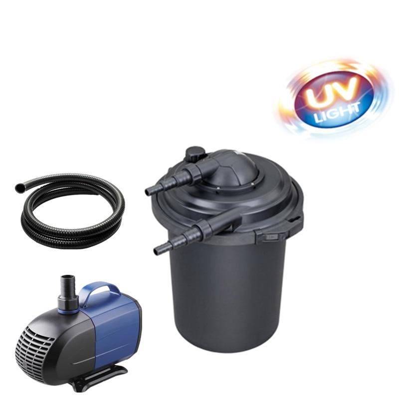 Fish pond koi pond filter barrel filtering device with UV water purifier pond fish pond filter